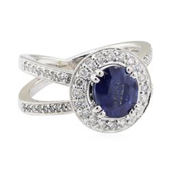 2.69 ctw Sapphire and Diamond Ring - 18KT White Gold