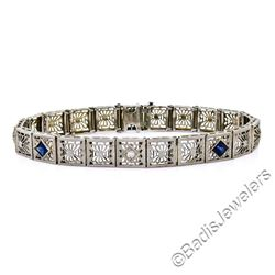 Art Deco Etched 14kt White Gold Diamond and Sapphire Filigree Line Bracelet