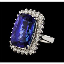 20.39 ctw Tanzanite and Diamond Ring - 14KT White Gold