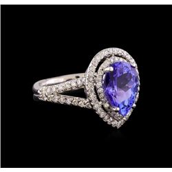 3.15 ctw Tanzanite and Diamond Ring - 14KT White Gold