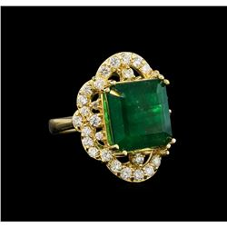 14KT Yellow Gold 9.30 ctw Emerald and Diamond Ring