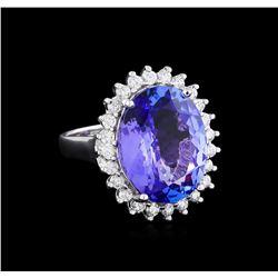 8.58 ctw Tanzanite and Diamond Ring - 14KT White Gold