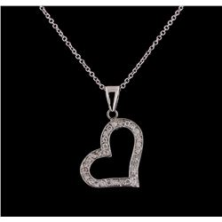 0.30 ctw Diamond Heart Pendant With Chain - 14KT White Gold