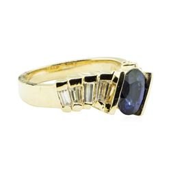 2.05 ctw Round Brilliant Blue Sapphire And Diamond Ring - 14KT Yellow Gold