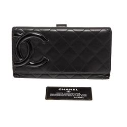 Chanel Black Quilted Leather Black CC Cambon Long Wallet