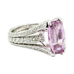 7.74 ctw Rectangular Cushion Brilliant Pink Topaz And Diamond Ring - 18KT White