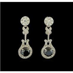 4.12 ctw Diamond Earrings - 14KT White Gold