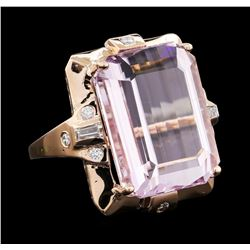 32.28 ctw Kunzite and Diamond Ring - 14KT Rose Gold