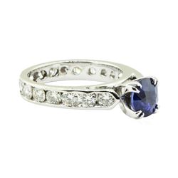 2.78 ctw Round Brilliant Blue Sapphire And Diamond Ring - 14KT White Gold