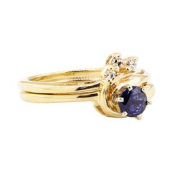 0.67 ctw Blue Sapphire and Diamond Ring - 14KT Yellow Gold