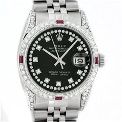 Rolex Mens Stainless Steel Diamond Lugs & Ruby Datejust Wristwatch With Rolex Bo