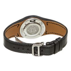 Hermes Stainless Steel Black Leather Harnais Watch