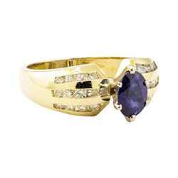 1.42 ctw Blue Sapphire and Diamond Ring - 14KT Yellow Gold