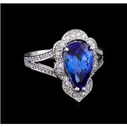 3.68 ctw Tanzanite and Diamond Ring - 14KT White Gold