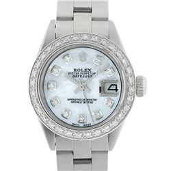 Rolex Ladies Stainless Steel MOP Diamond 18K Gold Bezel Datejust Wristwatch