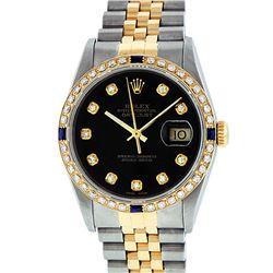 Rolex Mens 2 Tone 14K Black Diamond 36MM Datejust Wriswatch