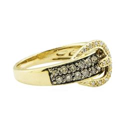0.90 ctw Chocolate and White Diamond Buckle Ring - 14KT Yellow Gold