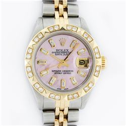 Rolex Ladies 2 Tone 14K Pink Mother Of Pearl Pyramid Diamond Datejust Wristwatch