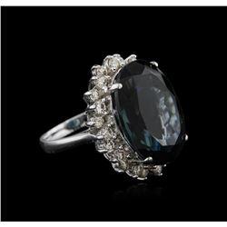 14KT White Gold 22.43 ctw Topaz and Diamond Ring