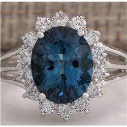 4.37CTW Natural London Blue Topaz And Diamond Ring In18K Solid White Gold