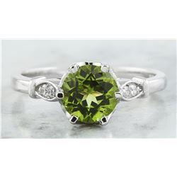 1.50 CTW Peridot 14K White Gold Diamond Ring