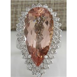 13.05 CTW Natural Peach Morganite And Diamond Ring In 18K Solid White Gold