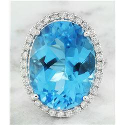 20.50 CTW Topaz 18K White Gold Diamond Ring