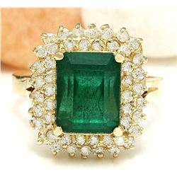 4.80 CTW Natural Emerald 18K Solid Yellow Gold Diamond Ring