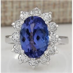4.74 CTW Natural Tanzanite And Diamond Ring In 18K White Gold