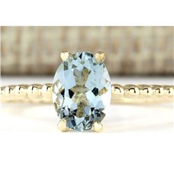 1.07 CTW Natural Aquamarine Ring In 14k Yellow Gold