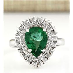 2.65 CTW Natural Emerald And Diamond Ring In 18K White Gold