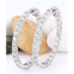4.50 CTW Natural Diamond 18K Solid White Gold Earrings