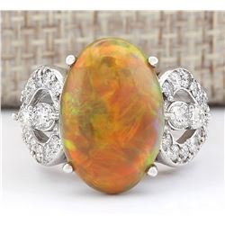 6.63 CTW Natural Opal And Diamond Ring In 18K White Gold