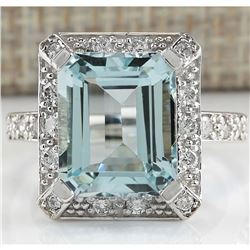 5.83 CTW Natural Blue Aquamarine Diamond Ring 18K Solid White Gold