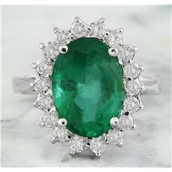 6.55 CTW Emerald 18K White Gold Diamond Ring