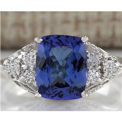 2.51 CTW Natural Blue Tanzanite And Diamond Ring In 18K White Gold