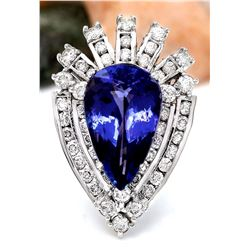 8.94 CTW Natural Tanzanite 18K Solid White Gold Diamond Ring