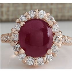 5.42 CTW Natural Ruby Cabochon And Diamond Ring 18K Solid Rose Gold