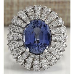 6.76 CTW Natural Sapphire Diamond Ring 18K Solid White Gold