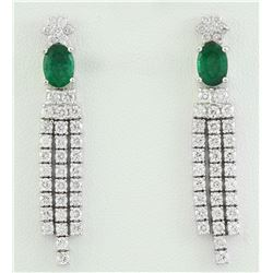 3.65 CTW Emerald 18K White Gold Diamond earrings