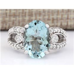 6.02 CTW Natural Aquamarine And Diamond Ring In 14k White Gold