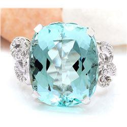 14.89 CTW Natural Aquamarine 18K Solid White Gold Diamond Ring