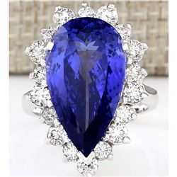 14.83 CTW Natural Blue Tanzanite And Diamond Ring 18K Solid White Gold