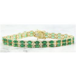 11.78  CTW Emerald 14K Yellow Gold Diamond Bracelet