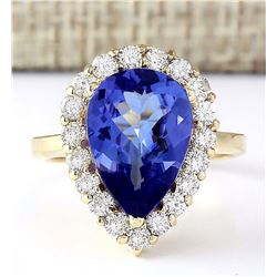 5.19 CTW Natural Tanzanite And Diamond Ring In 18K Yellow Gold