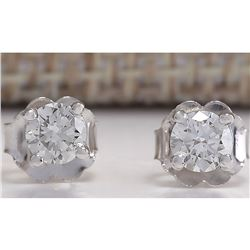 0.42CTW Natural Diamond Earrings 14K Solid White Gold