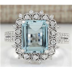 4.15 CTW Natural Aquamarine And Diamond Ring In 18K White Gold