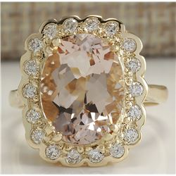 5.07 CTW Natural Morganite And Diamond Ring 18K Solid Yellow Gold
