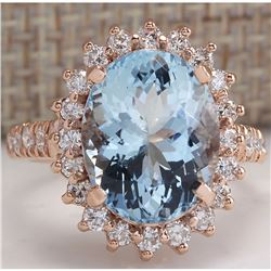 6.77 CTW Natural Aquamarine And Diamond Ring In 18K Solid Rose Gold