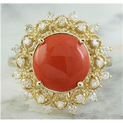 3.10 CTW Coral 18K Yellow Gold Diamond Ring
